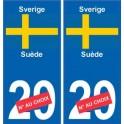 Suède Sverige sticker numéro département au choix autocollant plaque immatriculation auto