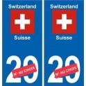 Suisse Switzerland sticker numéro département au choix autocollant plaque immatriculation auto
