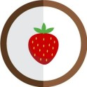autocollant fruit fraise vectorisé couleur rond marron stickers