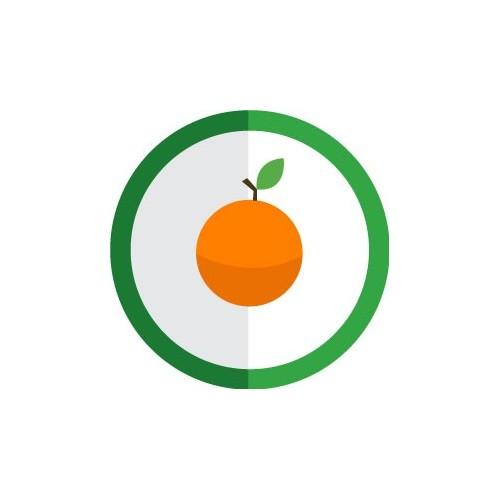 autocollant fruit orange vectoris couleur rond vert stickers. Black Bedroom Furniture Sets. Home Design Ideas