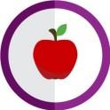 autocollant fruit pomme vectorisé couleur rond violet stickers