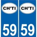 59 Nord autocollant plaque immatriculation auto département sticker logo ch'ti