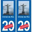 Christ de Rio autocollant plaque monument numéro au choix