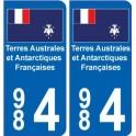 984 TAAF autocollant département plaque immatriculation drapeau