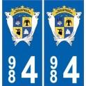 984 TAAF autocollant département plaque immatriculation blason lamantins