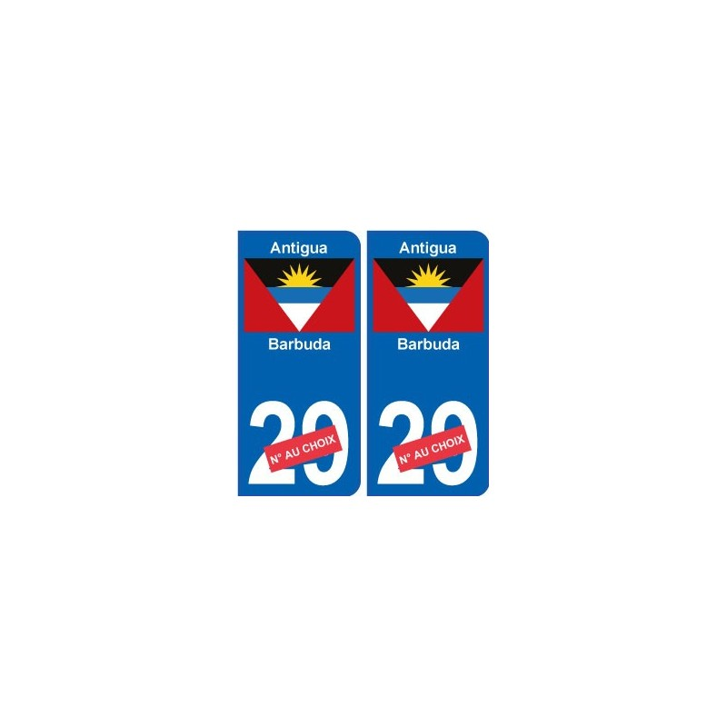 antigua et barbuda sticker num ro d partement au choix autocollant plaque immatriculation auto. Black Bedroom Furniture Sets. Home Design Ideas