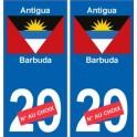 Antigua-et-Barbuda sticker numéro département au choix autocollant plaque immatriculation auto