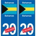 Bahamas sticker numéro département au choix autocollant plaque immatriculation auto