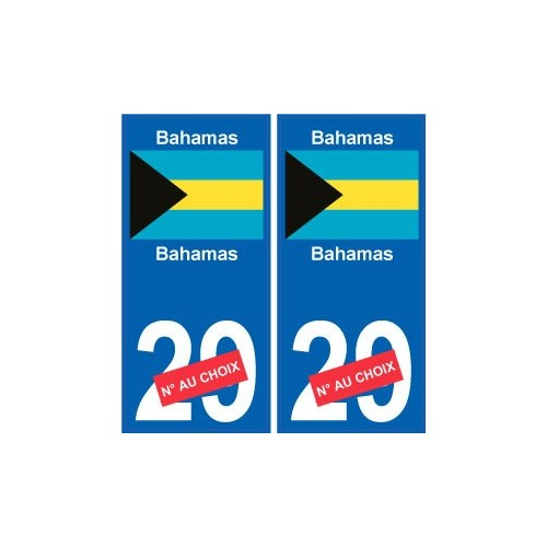 bahamas sticker num ro d partement au choix autocollant plaque immatriculation auto. Black Bedroom Furniture Sets. Home Design Ideas