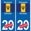barbade barbados sticker numéro département au choix autocollant plaque immatriculation auto