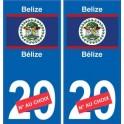 Bélize Belize sticker numéro département au choix autocollant plaque immatriculation auto