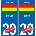 Bolivie Bolivia sticker numéro département au choix autocollant plaque immatriculation auto