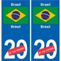 Brésil Brasil sticker numéro département au choix autocollant plaque immatriculation auto