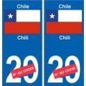 Chili Chile sticker numéro département au choix autocollant plaque immatriculation auto