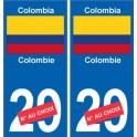 Colombie Colombia sticker numéro département au choix autocollant plaque immatriculation auto