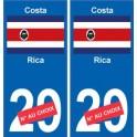 Costa-Rica sticker numéro département au choix autocollant plaque immatriculation auto