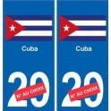 Cuba sticker numéro département au choix autocollant plaque immatriculation auto