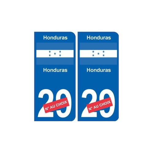 honduras sticker num ro d partement au choix autocollant plaque immatriculation auto. Black Bedroom Furniture Sets. Home Design Ideas