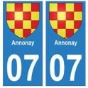 07 Annonay ville autocollant plaque