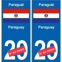 Paraguay Paraguái sticker numéro département au choix autocollant plaque immatriculation sticker auto