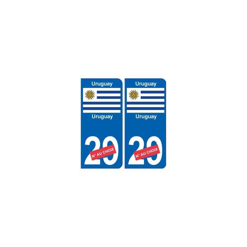 uruguay sticker num ro d partement au choix autocollant plaque immatriculation auto. Black Bedroom Furniture Sets. Home Design Ideas