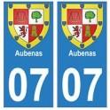07 Aubenas ville autocollant plaque