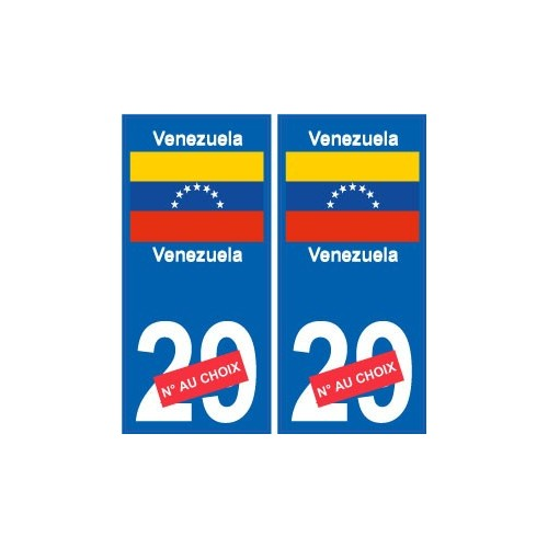 venezuela sticker num ro d partement au choix autocollant plaque immatriculation auto. Black Bedroom Furniture Sets. Home Design Ideas