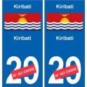 Kiribati sticker numéro département au choix autocollant plaque immatriculation auto