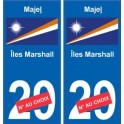 Iles Marshall Majeļ sticker numéro département au choix autocollant plaque immatriculation auto