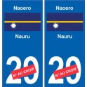 Naoero Nauru sticker numéro département au choix autocollant plaque immatriculation auto