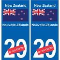 Nouvelle-Zélande New Zealand sticker numéro département au choix autocollant plaque immatriculation auto