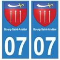 07 Bourg-Saint-Andéol ville autocollant plaque