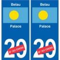 Belau Palaos sticker numéro département au choix autocollant plaque immatriculation auto
