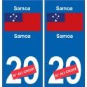 Samoa sticker numéro département au choix autocollant plaque immatriculation auto