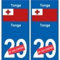 Tonga sticker numéro département au choix autocollant plaque immatriculation auto