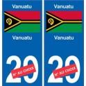 Vanuatu sticker numéro département au choix autocollant plaque immatriculation auto