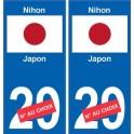 Japon Nihon sticker numéro département au choix autocollant plaque immatriculation auto