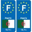 F Europe Algérie Algeria autocollant plaque