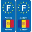 F Europe Andorre Andorra autocollant plaque