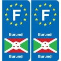 F Europe Burundi autocollant plaque