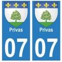 07 Privas ville autocollant plaque