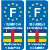 F Europe République Centrafricaine Central African Republic autocollant plaque