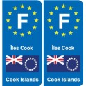 F Europe Îles Cook Cook Islands autocollant plaque