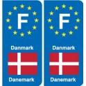 F Europe Denmark Denmark sticker plate