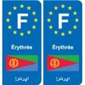 F Europe Érythrée Eritrea autocollant plaque