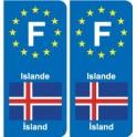 F Europe Islande Iceland autocollant plaque