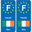 F Europe Irlande Ireland autocollant plaque