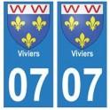 07 Viviers ville autocollant plaque