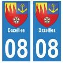 08 Bazeilles autocollant plaque ville département