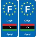 F Europe Libye Libya autocollant plaque